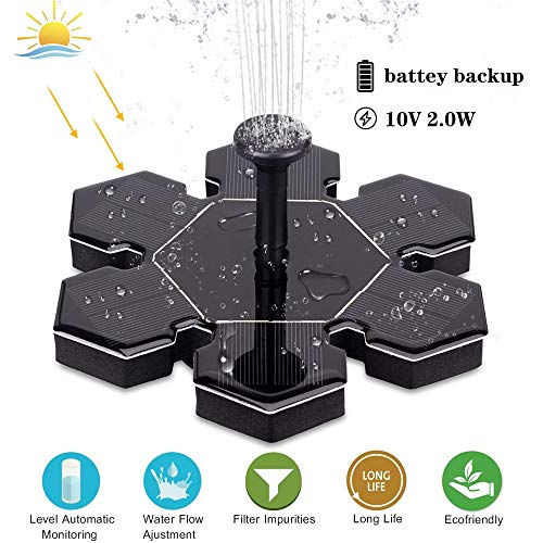 xinxinyu Solar Springbrunnen, Verbesserter Solarbrunnen Solar Brunnenpumpe Mit Batterieunterstützung Solar Panel Kit (Schwarz) Solar-monitoring-system