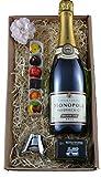 Geschenkset von mypresentshop™ mit Heidsieck Champagner, Pralinen vom Fernsehkoch Ludwig Heer und Sektflaschenverschluss von Leopold Vienna