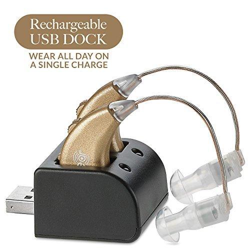 Digitale Hörverstärker – Paar Wiederaufladbarer BTE Persönlicher Hörverstärker mit USB-Ladestation – Erstklassige Hinter dem Ohr Tonverstärkung – von NewEar