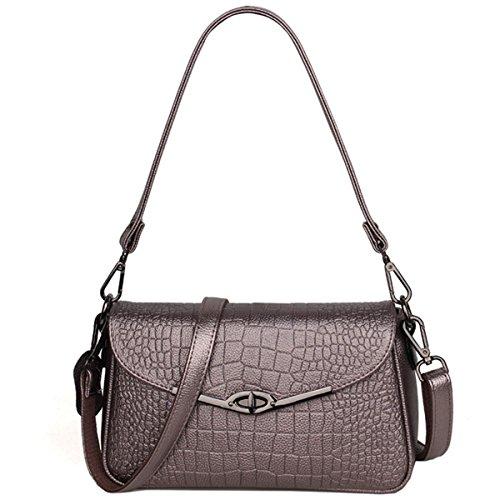 Geprägte Damen Damen Schultertasche button Tasche Messenger Bag Kleine quadratische Tasche, rot Silbergrau