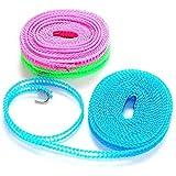 MoonyLI Corde à Linge en Nylon Corde à Linge antidérapante Portable Coupe-Vent avec Corde à Linge à Crochet métallique pour l