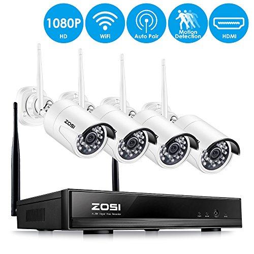 ZOSI Full HD 1080P 4 Kanal Funk Überwachungsset 4CH NVR mit 4 Drahtlos 2.0 Megapixel Außen Tag Nacht IP Überwachungskamera Set Wireless CCTV System, 20M IR Nachtsicht, ohne Festplatte