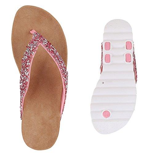 Bequeme Damen Sandalen | Zehentrenner Glitzer Metallic | Komfort-Sandalen Kork | Bequemschuhe | Strandschuhe Schnallen Rosa Steinchen Brooklyn