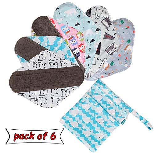 Teamoy 6 Stück Slipeinlagen Waschbar, Wiederverwendbare Binden, Baumwolle Menstruation Pads mit EXTRA Waschbare Tasche, (Mittel-25,5 cm / 10 Zoll)