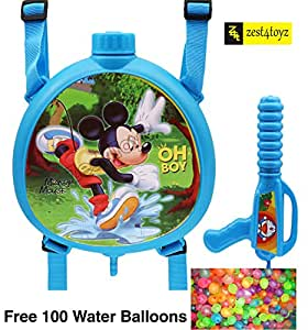 Zest 4 Toyz Holi Water Gun with High Pressure Holi Pichkari with Back Holding Tank, Holi 1.5 Litre - Red Color (Assorted Designs)