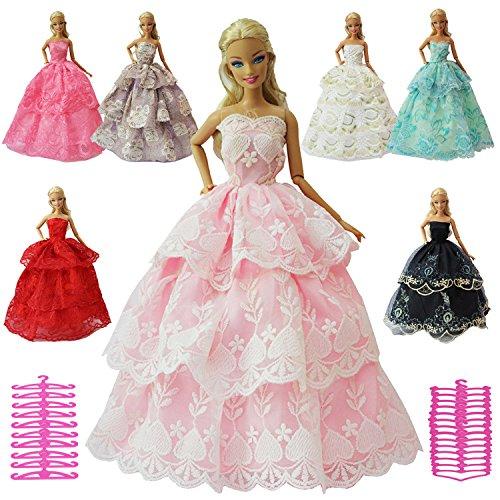 ZITA ELEMENT 12 Stück Fashionistas Abendkleider für Barbie Puppe Hochzeitskleid Spitzenkleider...