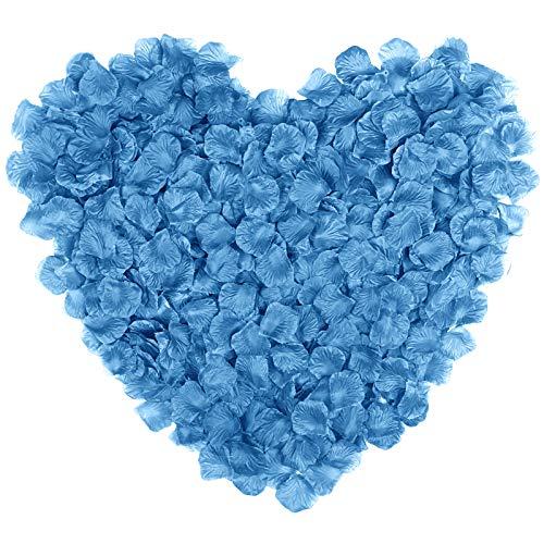 Naler 2000pcs seta artificiale petali di rosa, petali di fiori finti per decorazione cosplay, halloween, natale, matrimonio, bomboniere, confetti, tavolo, blu