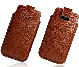 iPhone 5 5G Brown Real Leather Travel Pouch Sleeve Case inc Two FREE Screen Protectors Pack