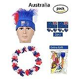 1. pacchetto: 1 x parrucca; 2 x bandiera tatuaggi temporanei; 1 x fiore leis; Regalo: 1 confezione x scoppi o palloncini casuali. 2. Parrucca: Dimensioni: perimetro 54 cm / 21,26 pollici; fascia per capelli: larghezza 5,5 cm / 2,17 pollici 3....