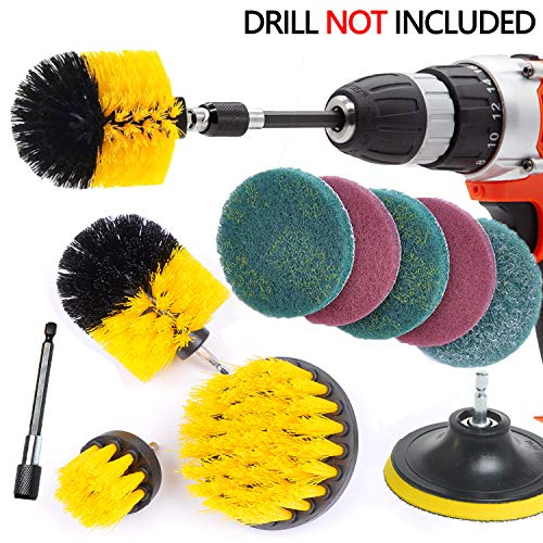 Drill Brush Ultimate Automotive Cleaning Kit With Extension bohrmaschine bürstenaufsatz Cleaning Brush Power Scrubbing auto Bürste für Auto, Teppich, Badezimmer, Holzboden, Waschküche (Set 11 Gelb) - Teppich Extractor Kit