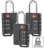 PEARL Gepäckschlösser: 3er-Set TSA-Reisekoffer- & Gepäck-Schlösser mit 3-stelligem Zahlencode