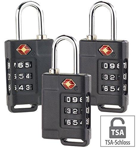 PEARL Gepäckschlösser: 3er-Set TSA-Reisekoffer- & Gepäck-Schlösser mit 3-stelligem Zahlencode (TSA-Zahlenschloss für Koffer) (Reisetasche-gepäck-set)