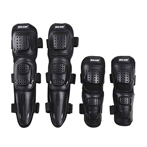 Moresave 4 Stück / Set Motorrad Ellenbogenschutz Knieschoner Knieprotektor Armschützer Flexible Atmungsaktiv Schutzausrüstung für Motocross Rennen, Erwachsene schwarz