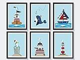 Kinderzimmer Poster maritim - 6 A4 Kinderposter pro Set