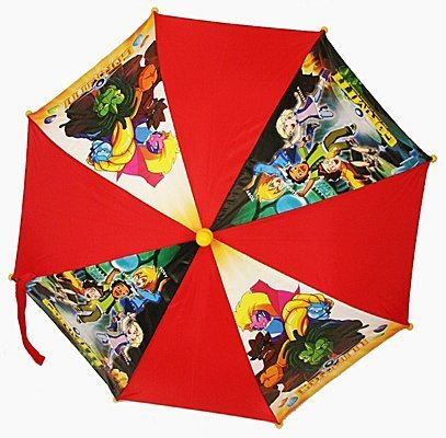 Gormiti Umbrella, Orange And Character Picture Panels, Yellow Handle
