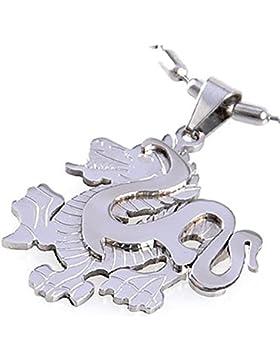 DonDon Edelstahl Halskette und E
