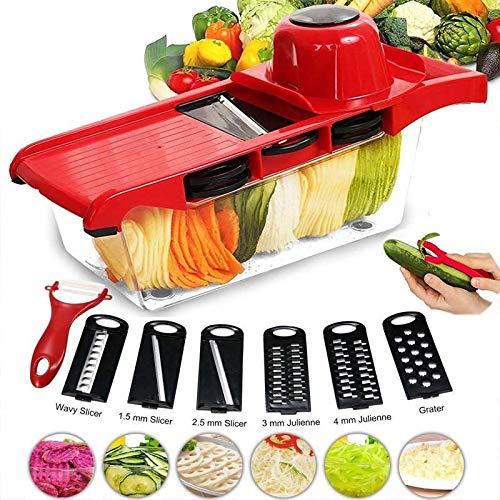 DDYX2020 - Mehrzweck Gemüseschneider 7 in 1 Küche Mandoline, Hobel Küchenreibe und Handschneider, rostfreies Profi-Küchengerät zum Schneiden von Obst/Gemüse - Rot