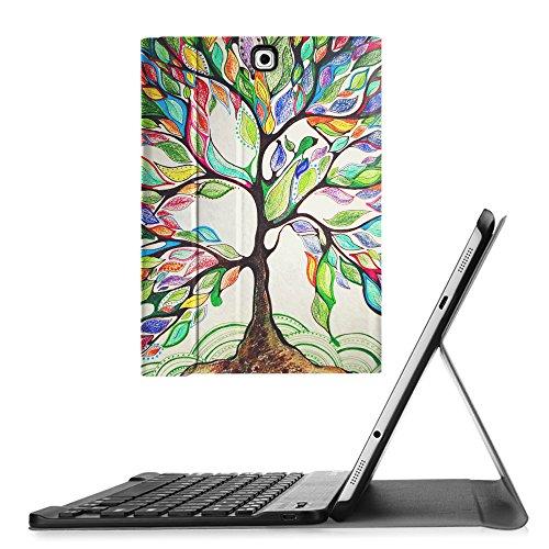 Fintie Blade X1 Samsung Galaxy Tab S2 8.0 Bluetooth Tastatur Hülle Keyboard Case - Ultradünn leicht SmartShell Ständer Schutzhülle mit magnetisch abnehmbar drahtloser Bluetooth Tastatur für Samsung Galaxy Tab S2 8.0 T715N 24,6 cm (8 Zoll) Tablet-PC, Liebesbaum