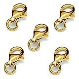 My-Bead 10 piezas mosquetóns 9mm plata de ley 925 oro de 24 quilates cierres para bisuteria de alta calidad