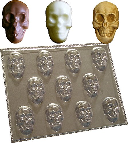 11 CAVITY SKULLS MOULD FOR CHOCOLATE SOAP WAX MELTS MOLD