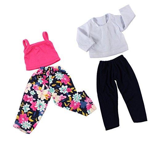 Gazechimp 4 Pièces Vêtement de Poupée Tops T-shirt Pantalons Multicolore en Tissu Accessoires Pour 18