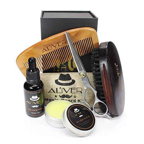 Cutelove - Kit de aceite para barba y peine + cepillo de pelo para barba + aceite para barba + tijeras + peine + regalo para hombres
