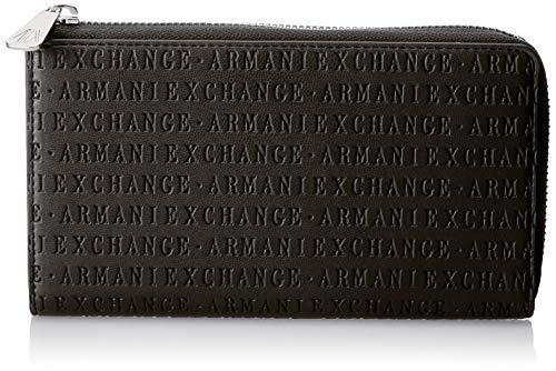 Armani Exchange Damen Round Zip Wallet Geldbörse, Schwarz (Black), 10.5x2.5x19 cm