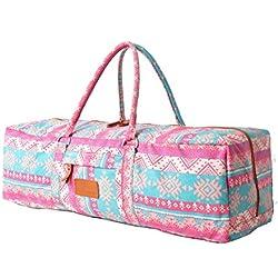 Bolsa de yoga »Ghanpati« de #DoYourYoga / Hecha con lienzo (lona) de primera calidad, con un laborioso acabado / Para esterillas de yoga, pilates, ejercicio y gimnasia EXTRAGRUESAS de hasta 186 x 62 x 1,5 cm / rosa fucsia, azteca