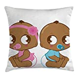 KAKICSA Gender Reveal Throw Pillow Cushion Cover, Cute African American Baby Girl Boy in Diaper Kids Print, Decorative Square Accent Pillow Case, 18 X 18 inches, Sky Blue Pink and Pale Brown