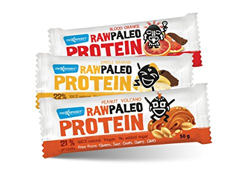 Maxsport Nutrición, barras de Proteína - Sin gluten. Proteína para veganos, alimentos crudos - 50 g x 20 unidades.