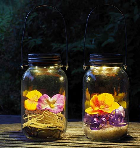 Gadgy ® Lámpara Solar Mason Jar Tarro Cristal Set