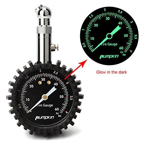 PUMPKIN Reifendruckmesser Auto Reifendruckprüfer Manometer Tragbar für Auto Motorrad LKW SUV mit Zifferblatt, 360°drehbares Kugelgelenk
