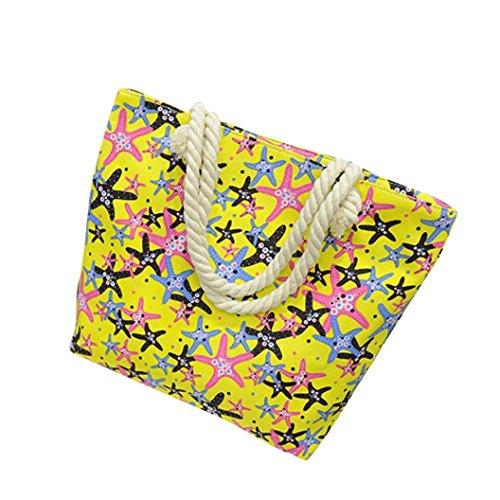 Transer Canvas Handbags & Single Shoulder Bags Women Zipper Bag Girls Hand Bag, Borsa a spalla donna Yellow 40cm(L)*35(H)*10cm(W) Yellow