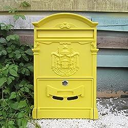 MXD Style européen Boîte aux lettres simple Boîte aux lettres extérieure Villa étanche avec serrure Grande boîte postale rurale Creative Letterbox jaune