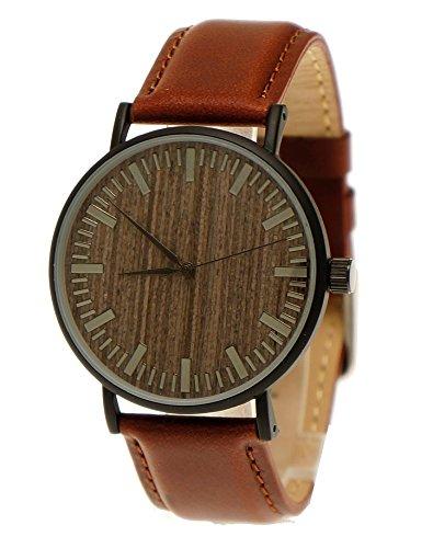 Handgefertigte flache Holzwerk Germany® Designer Unisex Herren-Uhr Damen-Uhr Öko Natur Holz-Uhr Armband-Uhr Analog Klassisch Quarz-Uhr mit Leder-Armband und Holz Ziffernblatt