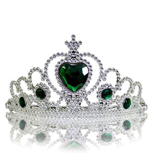 ssin Diadem Krone, Verkleidung Kostüm, Fasching Karneval, Haarspange, Silber/Dunkelgrün (Mädchen Tinkerbell Prinzessin Kostüme)