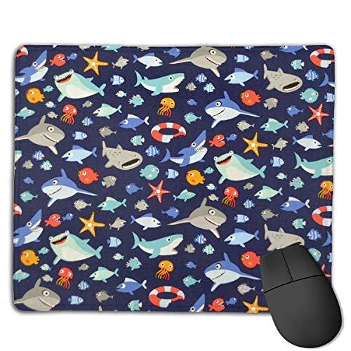 Preisvergleich Produktbild Mouse Pad Cute Cartoon Shark Fans Rectangle Rubber Mousepad 8.66 X 7.09 Inch Gaming Mouse Pad with Black Lock Edge