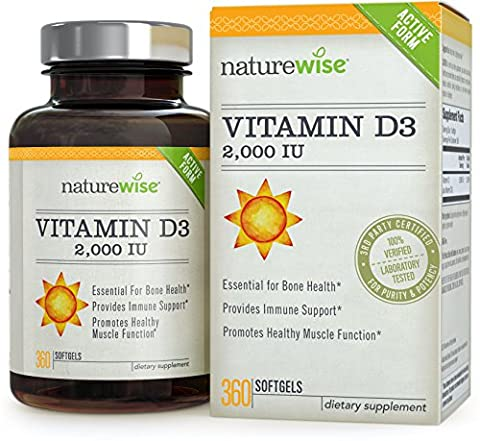 NatureWise Vitamin D3 2,000 IU for Healthy Muscle Function, Bone Health and Immune Support, Gluten Free & Non-GMO in Cold-Pressed Organic Olive Oil,1-year supply, 360 count