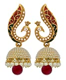 #8: YouBella Jewellery Traditional Stylish Gold Plated Pearl Fancy Party Wear Jhumka / Jhumki Earrings for Girls and Women