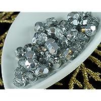 D'Argento di cristallo di Mezza ceca Vetro Sfaccettato Perle di Fuoco Lucido 6mm (Perline Di Cristallo Di Sfaccettatura)