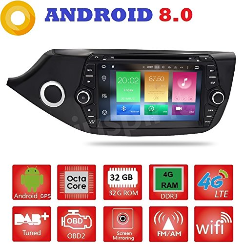 Android 8.0GPS DVD USB SD Wlan Bluetooth Mirrorlink Autoradio 2Din NAVI Kia Ceed/Cee 'd 2012, 2013, 2014, 2015, 2016