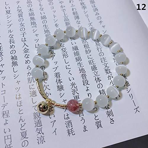 jxcssmqq Crystal Gray Moonstone Bracelet Strawberry Crystal Bracelet 12 Cat's Eye Stone Bell (Cat Eye Kontakt)