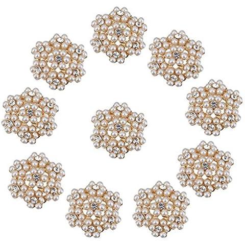 10pcs Adornos De Cristal De La Flor Del Rhinestone De La Perla Botones De FlatBack De 25mm