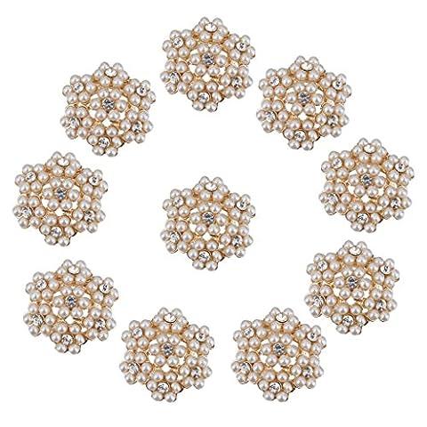 10pcs Boutons de Strass Cristal Perle de Fleur pour Embellissements Brillants - 10pcs, Fleur d'Or, 25mm