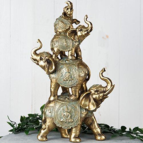 Juliana Verdigris - Figura decorativa de elefantes apilados, 38 cm, acabado en...