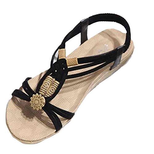 sandali piatti, Longra Donne pu artificiale materiale suola di gomma a pizzo sandali Nero