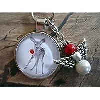 Handmade Schlüsselanhänger, Taschenanhänger Reh Rot/ Weiß, mit Schutzengel