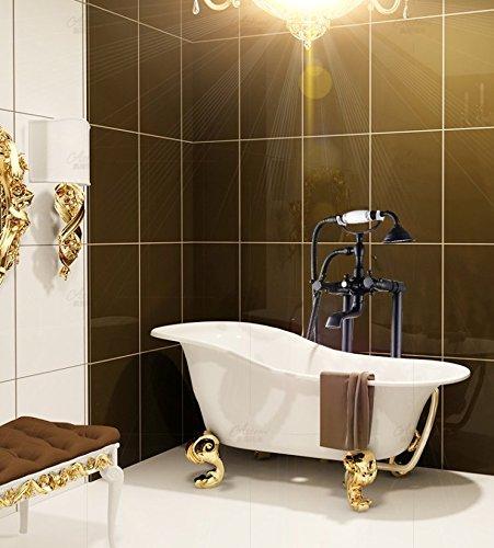 MangeooEuropäische Schwarz Kupfer Bronze antike Ausführung, Badewanne Dusche Badewanne Armatur vertikale Chaise -