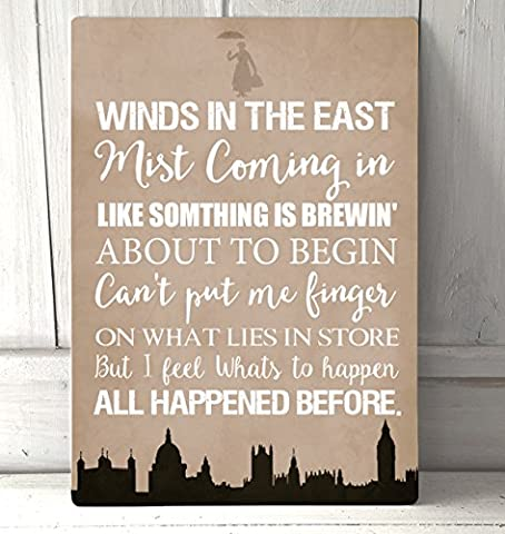 Winds in the East Mary Poppins quote Stone A4 metal sign plaque wall art
