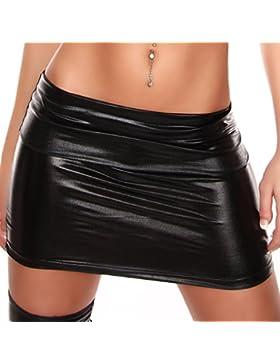 Señoras mini falda de cuero de la mirada mojado Mindi Gogo
